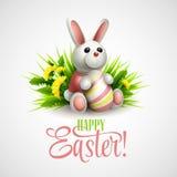 Cartão de Páscoa com coelho, ovos e flores Vetor Imagem de Stock