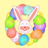Cartão de Páscoa com coelhos no ilustração stock