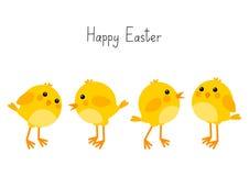 Cartão de Páscoa com galinhas pequenas ilustração stock