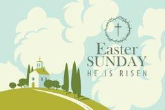 Cartão de Páscoa com a igreja no monte, no céu e nas nuvens ilustração royalty free