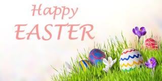 Cartão de Páscoa com ovos e flores foto de stock