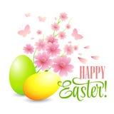 Cartão de Páscoa com ovos e flores Vetor Imagem de Stock Royalty Free
