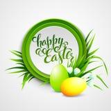 Cartão de Páscoa com ovos e flores Vetor Imagens de Stock Royalty Free
