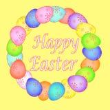 Cartão de Páscoa com ovos pintados EPS ilustração royalty free