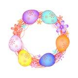Cartão de Páscoa com ovos pintados EPS ilustração do vetor
