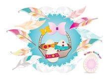 Cartão de Páscoa com penas estilizados Imagens de Stock Royalty Free