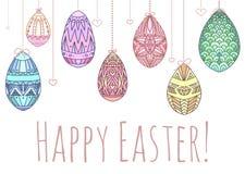 Cartão de Páscoa com suspensão de ovos coloridos da garatuja Imagens de Stock Royalty Free