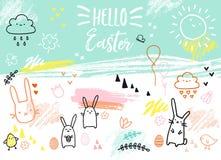 Cartão de Páscoa desenhado à mão com coelhos, vetor Imagens de Stock Royalty Free