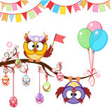 Cartão de Páscoa do cumprimento com corujas Fotos de Stock