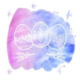 Cartão de Páscoa do cumprimento com os ovos decorativos no backgrou da aquarela ilustração stock