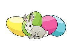 Cartão de Páscoa feliz com ovos, coelho, Imagem de Stock