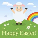 Cartão de Páscoa feliz do cordeiro bonito Fotos de Stock