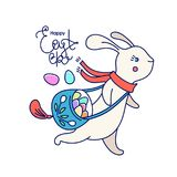 Cartão de Páscoa feliz de Vecnor com coelho e rotulação Foto de Stock Royalty Free