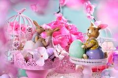 Cartão de Páscoa nas cores pastel Imagens de Stock Royalty Free