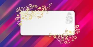Cartão de papel do campeonato do mundo 2018 lilás do futebol ilustração royalty free