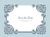 Cartão de papel do entalhe com cantos do laço ilustração royalty free