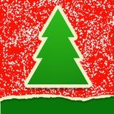 Cartão de papel do rasgo com árvore de Natal Fotos de Stock