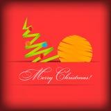 Cartão de papel do vetor com árvore de Natal Imagens de Stock