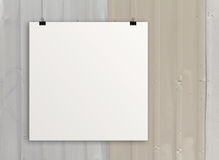 Cartão de papel vazio 3d na parede da composição Imagem de Stock