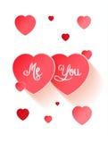 Cartão de papel vermelho do dia de Valentim dos corações Fotos de Stock Royalty Free