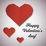 Cartão de papel vermelho do dia de Valentim dos corações Imagens de Stock Royalty Free