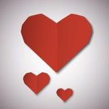 Cartão de papel vermelho do dia de Valentim dos corações Imagens de Stock
