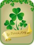 Cartão de Patrick com shamrock Imagem de Stock
