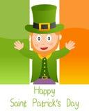Cartão de Patrick s com Leprechaun Foto de Stock Royalty Free