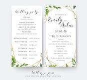 Cartão de programa do casamento para a cerimônia e partido com vetor moderno, Fotografia de Stock Royalty Free