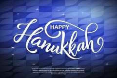 Cartão de rotulação com elementos do esboço Cartaz feliz do Hanukkah Ilustração desenhada mão do vetor ilustração royalty free