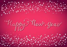 Cartão de rotulação do ano novo feliz com neve Foto de Stock
