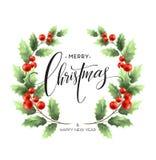 Cartão de rotulação do Feliz Natal com azevinho Ilustração do vetor ilustração stock