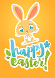 Cartão de rotulação feliz da Páscoa com coelho de coelho dos desenhos animados Mão tirada rotulando o cartaz para a Páscoa Vetor  Imagens de Stock