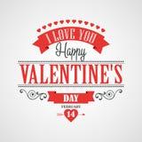 Cartão de rotulação feliz do dia de Valentim - Foto de Stock Royalty Free