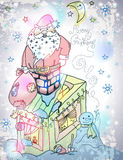 Cartão de Santa Claus Christmas com presentes e boneco de neve Imagens de Stock Royalty Free