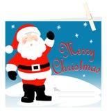Cartão de Santa Claus Merry Christmas com Peg Fotos de Stock