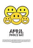 Cartão de sorriso de April Fool Day Happy Holiday da cara primeiro Foto de Stock