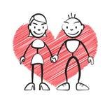Cartão de Stickman com coração esboçado Foto de Stock