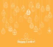 Cartão de suspensão do ornamento dos ovos da páscoa ilustração do vetor