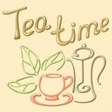 Cartão de tempo do chá com elementos do chá Imagem de Stock Royalty Free