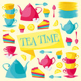 Cartão de tempo do chá Ilustração do vetor Foto de Stock Royalty Free