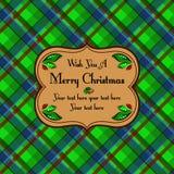 Cartão de teste padrão da tartã da manta do Natal, verde Fotos de Stock Royalty Free