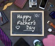 Cartão de texto do dia de pais em ideias inglesas e do presente Fotografia de Stock