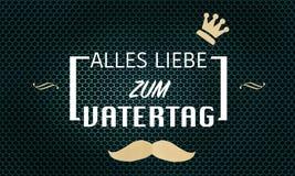 Cartão de texto do dia de pais no alemão no fundo da grade de turquesa Ilustração Royalty Free