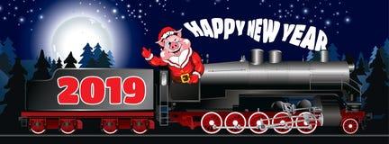 Cartão de uma ilustração do porco na roupa Santa Claus imagem de stock