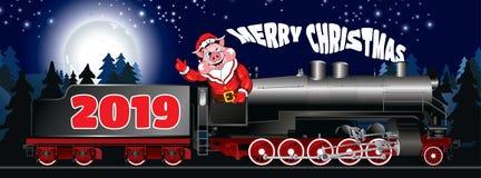 Cartão de uma ilustração do porco na roupa Santa Claus foto de stock