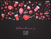 Cartão de Valentine Day com ícones bonitos da garatuja dos desenhos animados Conceito com presentes, diamante do cartaz do amor,  ilustração do vetor