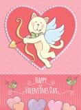 Cartão de Valentine Day com gato Fotos de Stock