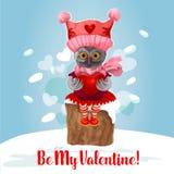 Cartão de Valentine Day do pássaro bonito da coruja com coração ilustração stock