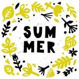 Cartão de verão Abstraia o fundo floral Cartão ou cartaz com elementos florais de papel Entalhe floral Fotos de Stock Royalty Free